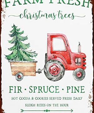 Farm Fresh Christmas Trees Tin Sign Fir Spruce Pine Sign For Farmhouse Holiday Decor For Kitchen Living Room Office And Home 0 300x360