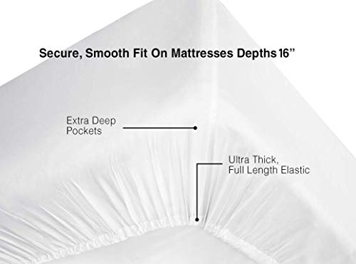 Feather Stitch 300 Thread Count 100 Cotton Percale Weave Bed Sheets 2 Pillowcases Fits Mattress 16 Deep Pocket Luxury Breathable 4 Piece Bedding Set Finley01 King 0 2