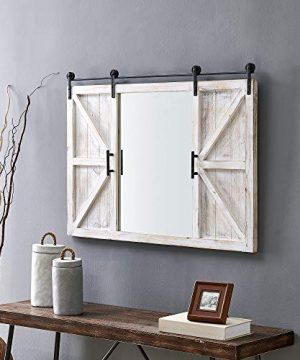 FirsTime Co Hayloft Farmhouse Barn Door Mirror American Crafted White 36 X 2 X 24 0 300x360