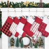 GEX Christmas Stockings For Family 6 Pack Rustic Buffalo Red Plaid Farmhouse Country Classic Stripe 19 Tall Decorations For Fireplace Xmas Tree Set Of 6 0 100x100