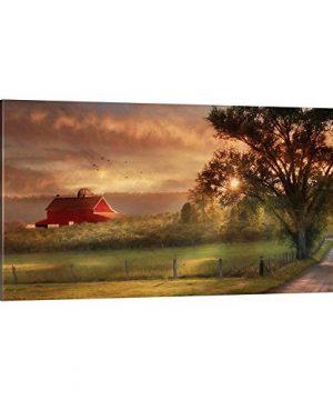 GREATBIGCANVAS Country Lane Sunset Canvas Wall Art Print Barn Home Decor Artwork 60x30x15 0 300x360