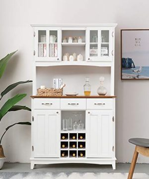 Giantex Buffet Hutch Cabinet Kitchen Hutch Sideboard Buffet Cabinet On Storage Island Wood Kitchenware Server With 3 Large Drawers And 9 Wine Bottle Modulars White 0 0 300x360