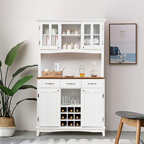 Giantex Buffet Hutch Cabinet Kitchen Hutch Sideboard Buffet Cabinet On Storage Island Wood Kitchenware Server With 3 Large Drawers And 9 Wine Bottle Modulars White 0 0