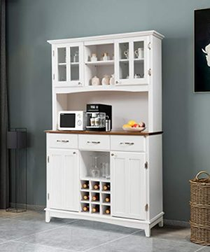 Giantex Buffet Hutch Cabinet Kitchen Hutch Sideboard Buffet Cabinet On Storage Island Wood Kitchenware Server With 3 Large Drawers And 9 Wine Bottle Modulars White 0 1 300x360