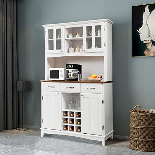 Giantex Buffet Hutch Cabinet Kitchen Hutch Sideboard Buffet Cabinet On Storage Island Wood Kitchenware Server With 3 Large Drawers And 9 Wine Bottle Modulars White 0 1