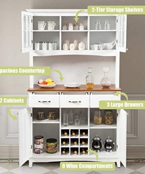 Giantex Buffet Hutch Cabinet Kitchen Hutch Sideboard Buffet Cabinet On Storage Island Wood Kitchenware Server With 3 Large Drawers And 9 Wine Bottle Modulars White 0 2 300x360