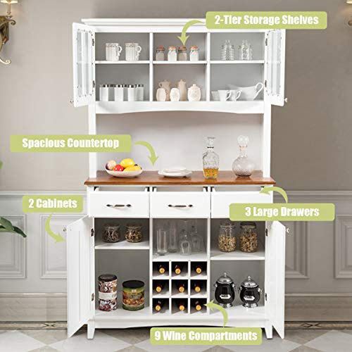 Giantex Buffet Hutch Cabinet Kitchen Hutch Sideboard Buffet Cabinet On Storage Island Wood Kitchenware Server With 3 Large Drawers And 9 Wine Bottle Modulars White 0 2