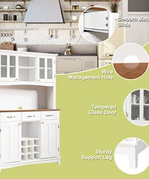 Giantex Buffet Hutch Cabinet Kitchen Hutch Sideboard Buffet Cabinet On Storage Island Wood Kitchenware Server With 3 Large Drawers And 9 Wine Bottle Modulars White 0 3 300x360