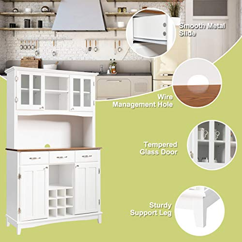 Giantex Buffet Hutch Cabinet Kitchen Hutch Sideboard Buffet Cabinet On Storage Island Wood Kitchenware Server With 3 Large Drawers And 9 Wine Bottle Modulars White 0 3