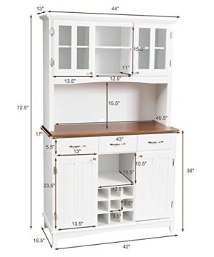 Giantex Buffet Hutch Cabinet Kitchen Hutch Sideboard Buffet Cabinet On Storage Island Wood Kitchenware Server With 3 Large Drawers And 9 Wine Bottle Modulars White 0 4 300x360