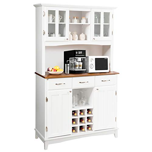 Giantex Buffet Hutch Cabinet Kitchen Hutch Sideboard Buffet Cabinet On Storage Island Wood Kitchenware Server With 3 Large Drawers And 9 Wine Bottle Modulars White 0