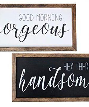 Good Morning Gorgeous Hey There Handsome Both Signs Framed Wood Signs Custom Home Decor Rustic Farmhouse WhiteBlackWhiteBlackEspresso 0 300x360