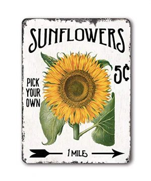 Goutoports Vintage Sunflower Tin Sign Farmhouse Home Wall Decor Metal Signs Kitchen Wall Art Green Oil Painting 0 300x360