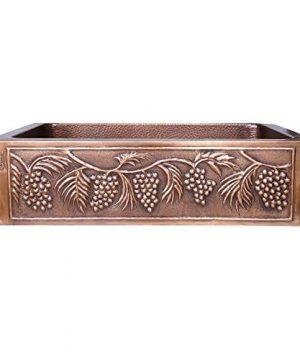 Grape Design Copper Undermount Kitchen Sink Single Bowl 16 Gauge Perfect For Home Hotel Farmhouse Dimensions 33 X 22 X 9 0 300x360
