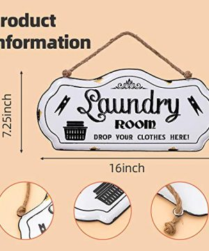 HOUSEGIFT Metal Laundry Room SignLaundry Room DecorFarmhouse Laundry Room SignRustic Wall Hanging Decor With Jute Rope 8x16Inch 0 1 300x360