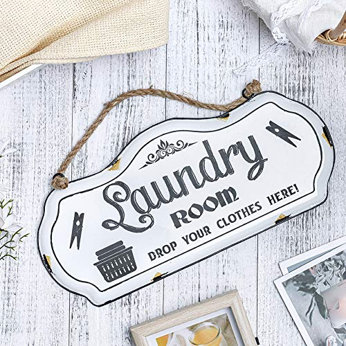 HOUSEGIFT Metal Laundry Room SignLaundry Room DecorFarmhouse Laundry Room SignRustic Wall Hanging Decor With Jute Rope 8x16Inch 0 3