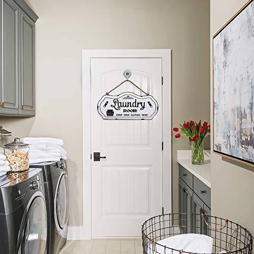 HOUSEGIFT Metal Laundry Room SignLaundry Room DecorFarmhouse Laundry Room SignRustic Wall Hanging Decor With Jute Rope 8x16Inch 0 5