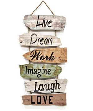 Hanging Wall Sign Rustic Wooden Wall Sign Live Dream Work Imagine Laugh Love Wood Wall Decoration For Home Decor 0 300x360