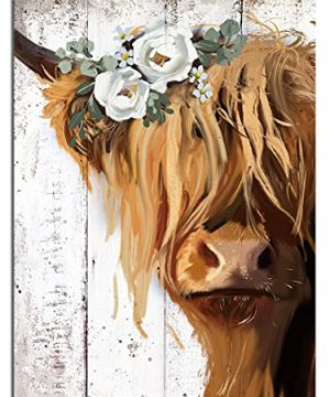Highland Cow Art And Farmhouse Wall Decor Country Canvas Printing Rustic Bedroom Decor Retro Yak Wall Art Home Artwork Print Used In Bathroom Office Bedroom Kitchen Dining Room Decorate 0 300x360