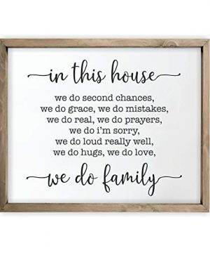 In This House We Do Family Framed Rustic Wood Farmhouse Wall Sign 12x15 0 300x360