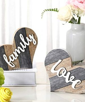 Jetec 2 Pieces Rustic Family Wooden Signs Heart Shaped Wooden Family Decor Wood Farmhouse Wall Decor For Bedroom Kitchen Living Room Table Centerpiece Freestanding Brown 0 300x360