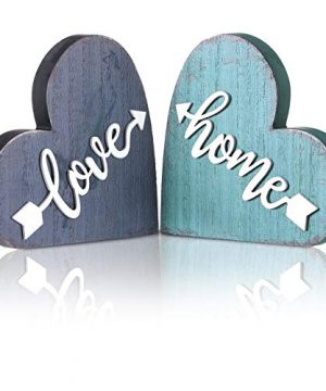 Jetec 2 Pieces Wood Home Sign Heart Wooden Signs Rustic Wood Love Sign Decorative Love Heart Wooden Sign For Holiday Home Table Fireplace Mantel Decor 0 300x360