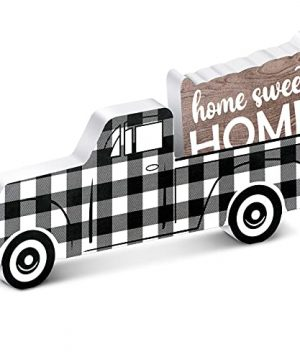 Jetec Wooden Pickup Truck Black And White Plaid Wooden Ornament Home Sweet Home Wooden Decor For Window Shelf Desk And Home Decor 0 300x360