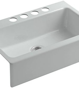 KOHLER 6546 4U 95 1 Dickinson 33 Inch X 22 18 Inch Apron Front Undermount Single Bowl Kitchen Sink With 4 Oversized Faucet Holes Ice Grey 0 300x337