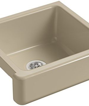KOHLER K 5664 33 Whitehaven Self Trimming 23 12 Inch X 21 916 Inch X 9 58 Inch Undermount Single Bowl Kitchen Sink With Short Apron Mexican Sand 0 300x356