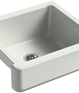 KOHLER K 5664 FF Whitehaven Farmhouse Self Trimming 23 12 Inch X 21 916 Inch X 9 58 Inch Undermount Single Bowl Kitchen Sink With Short Apron Sea Salt 0 300x356
