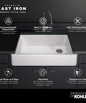 KOHLER K 5664 K4 Whitehaven Farmhouse Self Trimming 23 12 Inch X 21 916 Inch X 9 58 Inch Undermount Single Bowl Kitchen Sink With Short Apron Cashmere 0 1 300x360