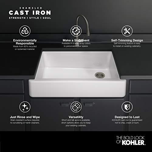 KOHLER K 5664 K4 Whitehaven Farmhouse Self Trimming 23 12 Inch X 21 916 Inch X 9 58 Inch Undermount Single Bowl Kitchen Sink With Short Apron Cashmere 0 1