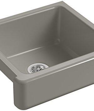KOHLER K 5664 K4 Whitehaven Farmhouse Self Trimming 23 12 Inch X 21 916 Inch X 9 58 Inch Undermount Single Bowl Kitchen Sink With Short Apron Cashmere 0 300x356