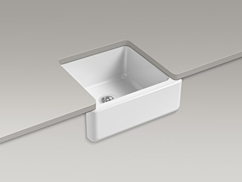 KOHLER K 5665 33 Whitehaven Self Trimming 23 1116 Inch X 21 916 Inch X 9 58 Inch Undermount Single Bowl Kitchen Sink With Tall Apron Mexican Sand 0 0