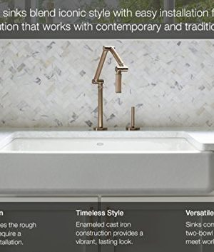 KOHLER K 5665 33 Whitehaven Self Trimming 23 1116 Inch X 21 916 Inch X 9 58 Inch Undermount Single Bowl Kitchen Sink With Tall Apron Mexican Sand 0 1 300x353