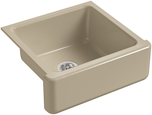 KOHLER K 5665 33 Whitehaven Self Trimming 23 1116 Inch X 21 916 Inch X 9 58 Inch Undermount Single Bowl Kitchen Sink With Tall Apron Mexican Sand 0