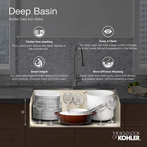 KOHLER K 5665 7 Whitehaven Farmhouse Self Trimming 23 1116 Inch X 21 916 Inch X 9 58 Inch Undermount Single Bowl Kitchen Sink With Tall Apron Black 0 1