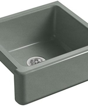 KOHLER K 5665 FT Whitehaven Farmhouse Self Trimming 23 1116 Inch X 21 916 Inch X 9 58 Inch Undermount Single Bowl Kitchen Sink With Tall Apron Basalt 0 300x360