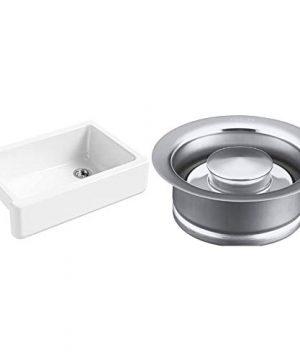 KOHLER K 5827 0 Whitehaven Farmhouse Self Trimming Undermount Single Bowl Sink With Tall Apron White 644677 Disposal Flange Polished Chrome 0 300x360