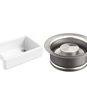 KOHLER K 5827 0 Whitehaven Farmhouse Self Trimming Undermount Single Bowl Sink With Tall Apron White K 11352 BS Disposal Flange One Size Brushed Stainless 0 300x360