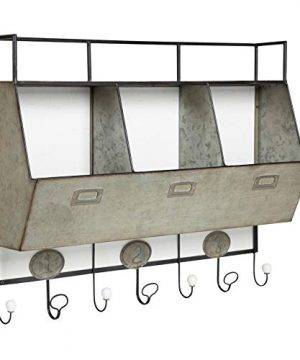 Kate And Laurel Arnica Antique White Wood And Metal Wall Storage Pockets With Hooks 0 300x360