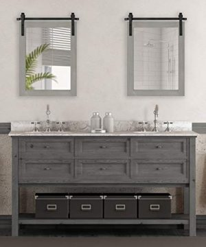 Kate And Laurel Cates Farmhouse Wood Framed Wall Mirror 18 X 26 Gray Barn Door Inspired Rustic Mirrors For Wall 0 0 300x360