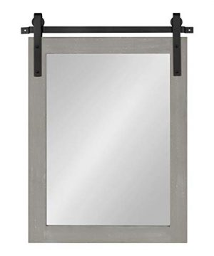 Kate And Laurel Cates Farmhouse Wood Framed Wall Mirror 18 X 26 Gray Barn Door Inspired Rustic Mirrors For Wall 0 1 300x360