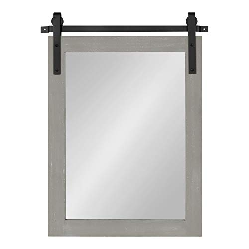 Kate And Laurel Cates Farmhouse Wood Framed Wall Mirror 18 X 26 Gray Barn Door Inspired Rustic Mirrors For Wall 0 1