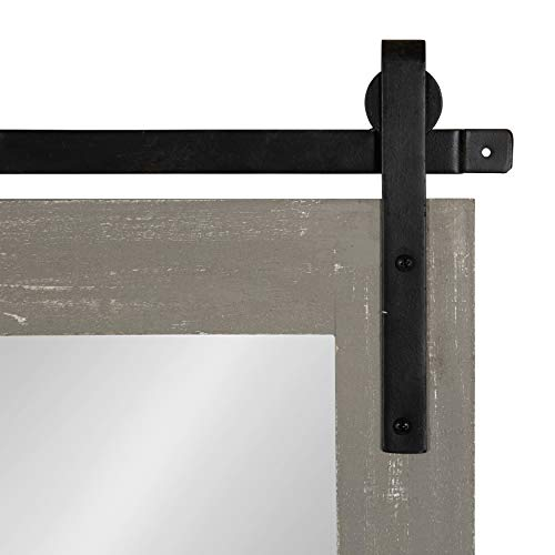 Kate And Laurel Cates Farmhouse Wood Framed Wall Mirror 18 X 26 Gray Barn Door Inspired Rustic Mirrors For Wall 0 2