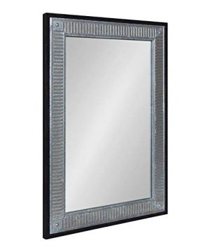 Kate And Laurel Deely Farmhouse Wall Mirror 27 X 39 Black And Silver Rustic Wall Decor With Galvanized Metal Frame 0 300x360