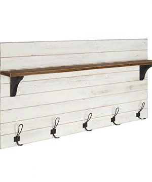 Kate And Laurel Jeran Wood Wall Shelf With 5 Hooks White 0 300x360