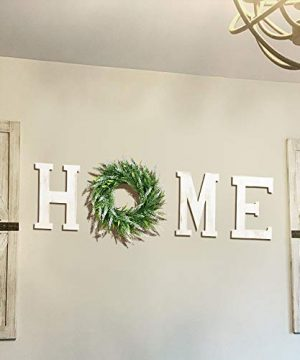 LOSOUR Home Letters With Wreath Farmhouse Decor For The Home Clearance Wood Letters Decorative Home Sign For Living Room Decor Entry Way Kitchen Etc White 0 300x360