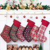 LUBOT 6 Pack Christmas Stocking20inch Plaid Snowflake Glitter Print Canvas Fireplace Hanging Xmas Stockings For Family Decorations Holiday Party Decor 0 100x100