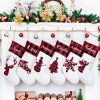 LUBOT 6 Pack Personalized Christmas Stocking20inch Silhouette Buffalo Red PlaidRusticFarmhouseCountry Fireplace Hanging Xmas Stockings Decorations For Family Holiday Season 0 100x100